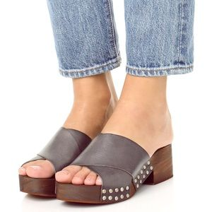 Free People Sonnet leather wood Clogs Slides